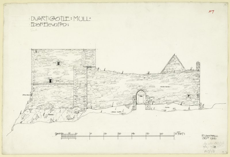 Elevation of Duart Castle, Mull. Titled. 'East Elevation'. Signed and dated 'R. Campbell, Sept. 1901'.