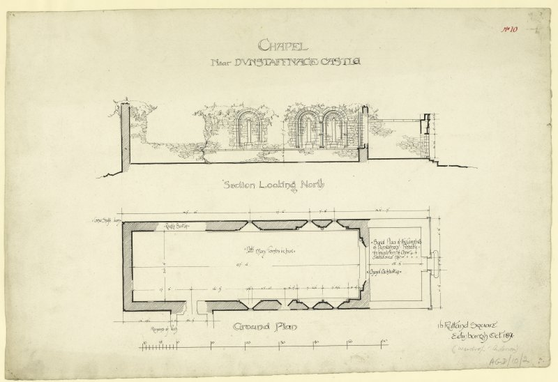 Ground plan and section of Dunstaffnage Castle Chapel.