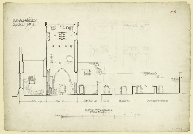 Plan of long section through cathedral looking west of Iona Abbey.