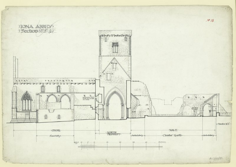 Transverse section through North transept and cloister garth looking South of St Mary's Abbey, Iona.