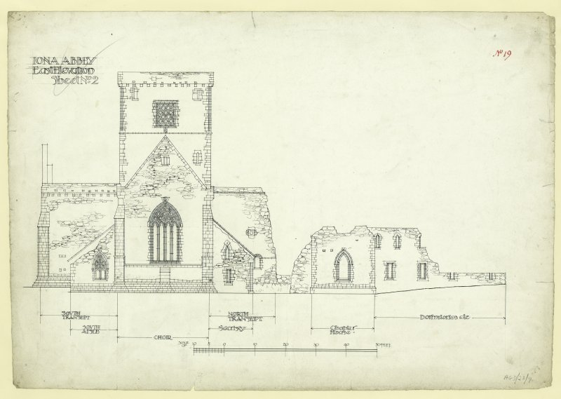 East elevation of church, monastic buildings and chapter house of St Mary's Abbey, Iona.