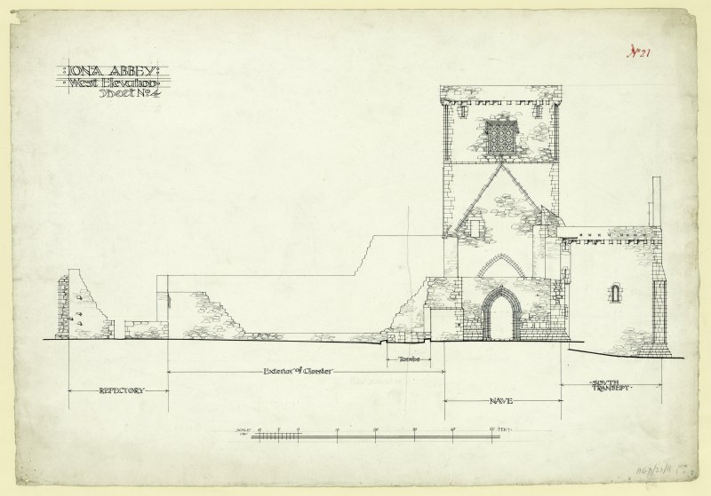 West elevation of church and monastic buildings, St Mary's Abbey, Iona.