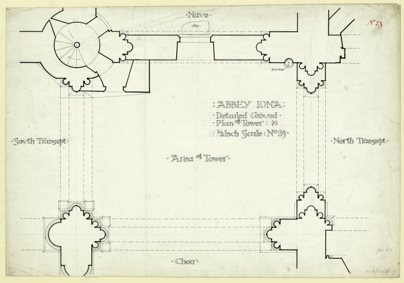 Plan of ground floor at crossing including details of the south transept, tower area, choir, north transept and nave, of Iona, St Mary's Abbey. Titled. 'Abbey Iona: Detail Ground Plan of Tower: 1/2 Inch scale: No.29.'                                                                                                                                                                          Iona, St Mary's Abbey. Photographic copy of plan of long section through transepts to chapter house looking East & West.    Photographic copy of plan of church and conventual buildings.