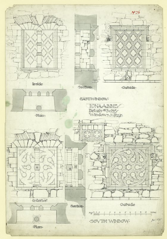 Plan of exterior and interior, elevation and section details of East and South windows of tower, belfry stage, of Iona, St Mary's Abbey. Titled. 'Iona abbey, Details of Belfry Windows.. No. 25.' Signed and Dated. 'JW 1875.'                                                                                                                                                                        Iona, St Mary's Abbey. Photographic copy of plan of long section through transepts to chapter house looking East & West.    Photographic copy of plan of church and conventual buildings.