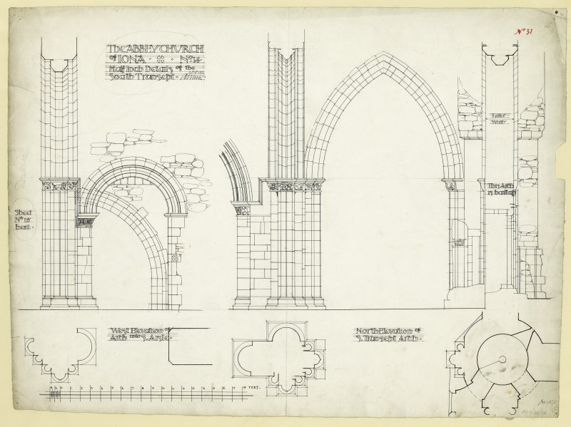 Plans and elevations of arch from South transept looking South and arch from South transept to South aisle of chancel looking East of St Mary's Abbey Church, Iona. Titled. 'The Abbey Church of Iona. No.14 Half Inch Details of the South Transept.' Signed. '2.5.800 A. Muir.' Signed and dated. 'J.W. 1875.'