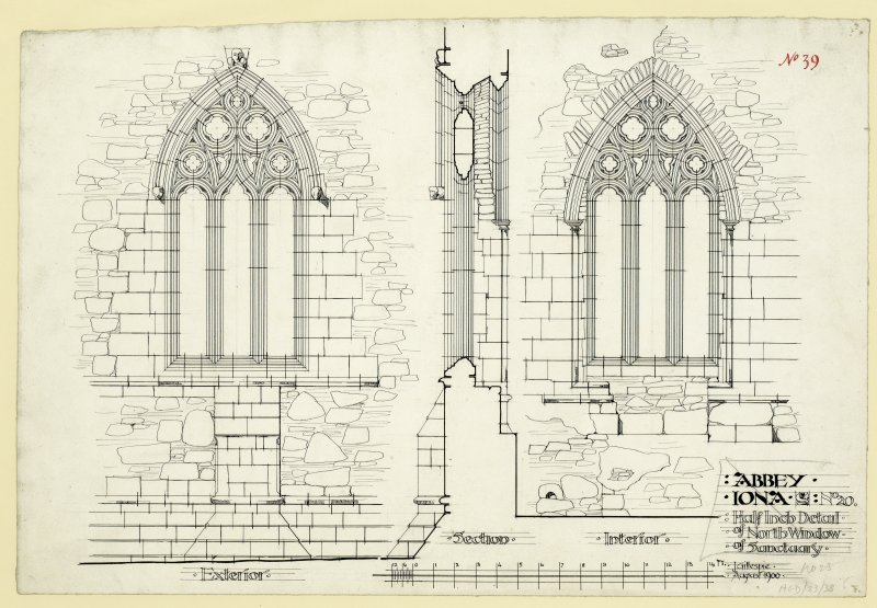 Plan showing exterior and interior elevations of North window of chancel St Mary's Abbey, Iona. Titled. 'Abbey Iona. No.20. Half Inch Detail of North Window of Sanctuary.' Signed and Dated. J. Gillespie. August 1900.'                                                                                                                                                                   Iona, St Mary's Abbey. Photographic copy of plan of long section through transepts to chapter house looking East & West.