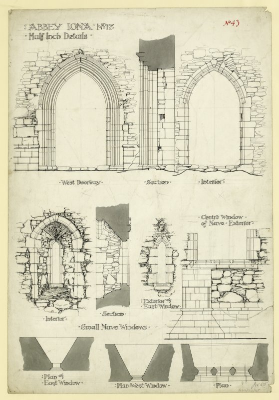 Plan showing elevations and sections of West doorway and plans, elevations and sections of windows South of nave of St Mary's Abbey, Iona. Titled. Abbey Iona. No.17 Half Inch Details.' Signed and Dated. 'J.W. 1875.'                                                                                                                                                             Iona, St Mary's Abbey. Photographic copy of plan of long section through transepts to chapter house looking East & West.