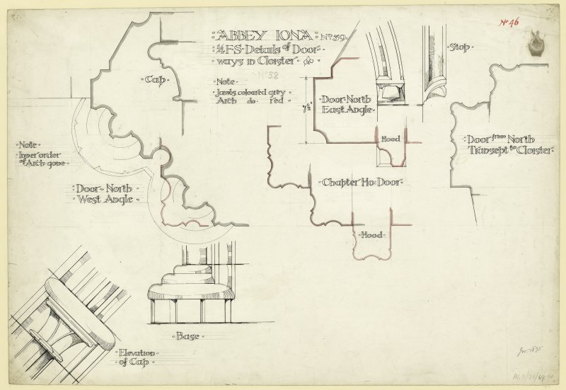 Plan showing details of elevations and sections of doorway from North transept to cloister and elevations of doorways to chapter house etc. of St Mary's Abbey, Iona. Titled. 'Abbey Iona. 1/4 F.S. Details of Door-ways to Cloister. No.39.' Signed and Dated. 'J.W. 1875.'                                                                                                                                                            Iona, St Mary's Abbey. Photographic copy of plan of long section through transepts to chapter house looking East & West.