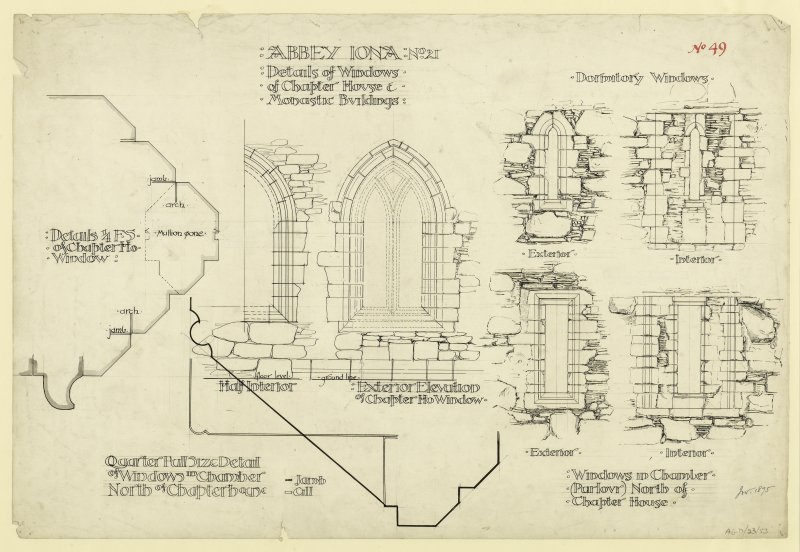 Plan showing elevations of chapter house windows on East wall of monastic buildings of St. Mary's Abbey, Iona. Titled. 'Abbey Iona: No. 21. Details of Windows of Chapter House and Monastic Buildings.' Signed and Dated. 'J.W. 1875.'                                                                                                                                                         Iona, St Mary's Abbey. Photographic copy of plan of long section through transepts to chapter house looking East & West.