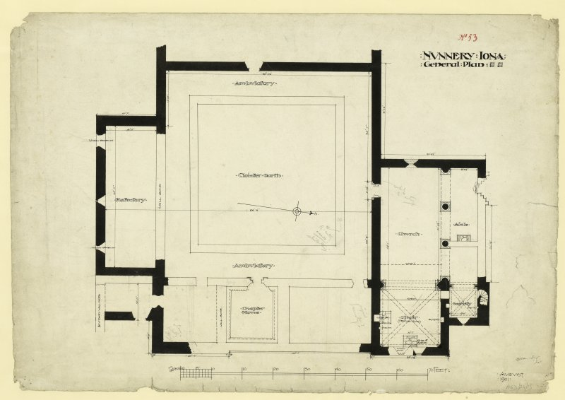 General Plan of Nunnery at Iona.  Titled. 'Nunnery Iona General Plan.' Dated. 'August 1901.' Signed and Dated. 'Meas. J.W. 1875.'