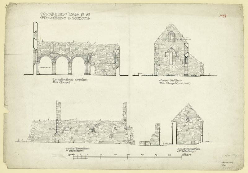 Plan of South and West elevations of refectory, long section and cross section through chapel of Nunnery, Iona. Titled. 'Nunnery Iona. Elevations of Sections.' Dated. 'August 1901.' Signed and Dated. 'Meas. 1875 J.W.'