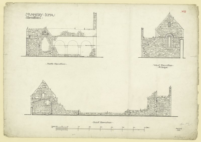 Plans of West, East and North elevations and conventual buildings of Nunnery, Iona. Titled. 'Nunnery Iona, Elevations.' Dated. 'August 1901.' Signed and Dated. 'Meas. 1875. J.W.'