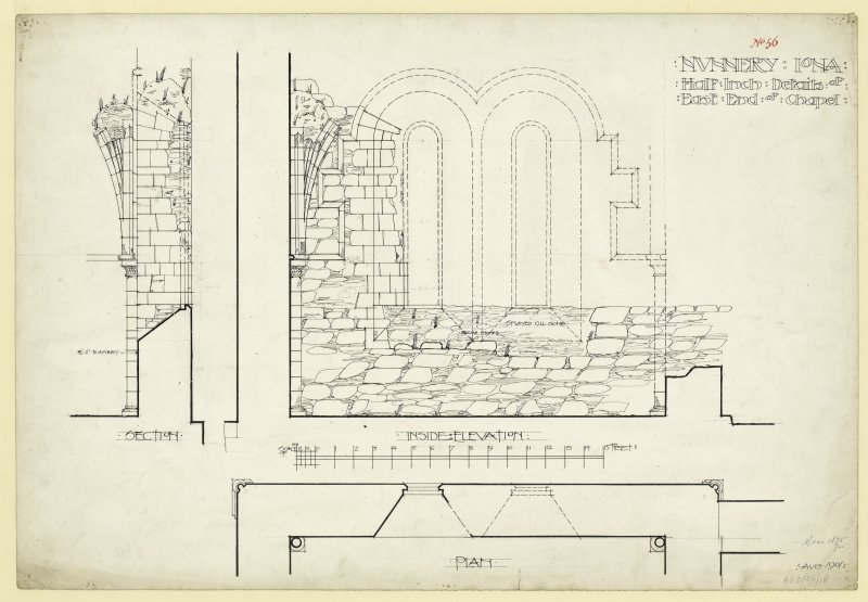 Plan of elevation of sacristy arch and section through nave looking East of Nunnery, Iona. Titled. 'Nunnery Iona. Half Inch details of East End of Chapel.' Dated. 'Aug. 1901.' Signed and Dated. ' Meas 1875 J.W.'