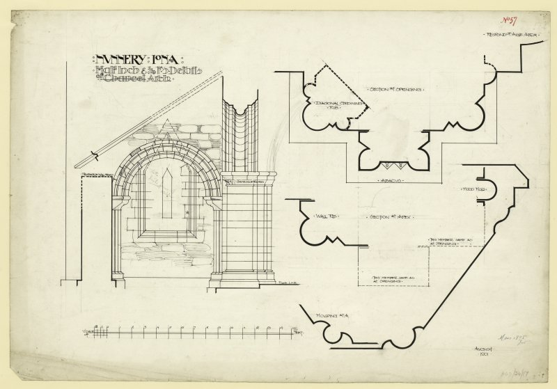 Plan of section and elevations of East window of sanctuary of Nunnery, Iona. Titled. 'Nunnery Iona. Half Inch and 1/4 F.S. Details of [Chancel] Arch.' (Chancel is striked out.) Dated. 'August 1901.' Signed and Dated. 'Meas. 1875. J.W.'