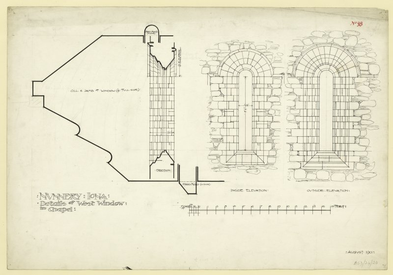 Plan of exterior and interior elevations and sections of West window of nave of Nunnery, Iona. Titled. 'Nunnery Iona. Details of West Window in Chapel.' Dated. 'August 1901.'