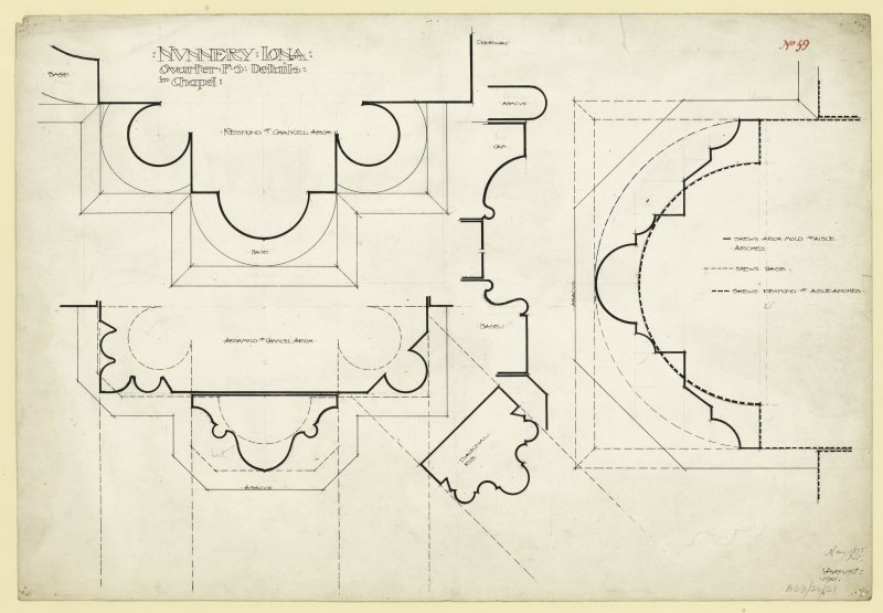 Plan of details of responds chancel arch and nave arcade of Nunnery, Iona. Titled. 'Nunnery Iona. Quarter F.S Details in Chapel.' Dated. 'August 1901.' Signed and Dated. 'Meas. 1875 J.W.'