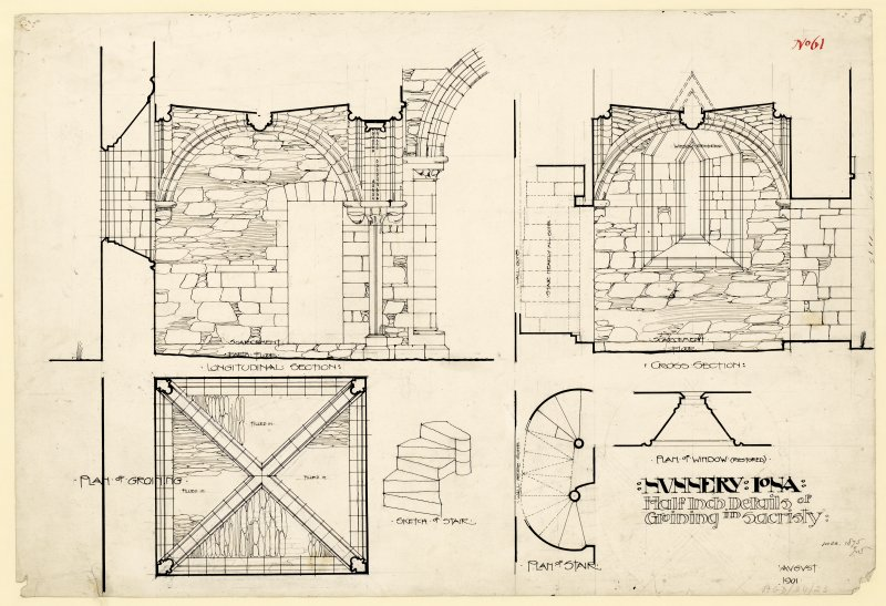 Plan of long and transverse sections through sacristy of Nunnery, Iona. Titled. 'Nunnery Iona, Half inch Details of Groining in Sacristy.' Dated. 'August 1901.' Signed and Dated. 'Meas. 1875. J.W.'