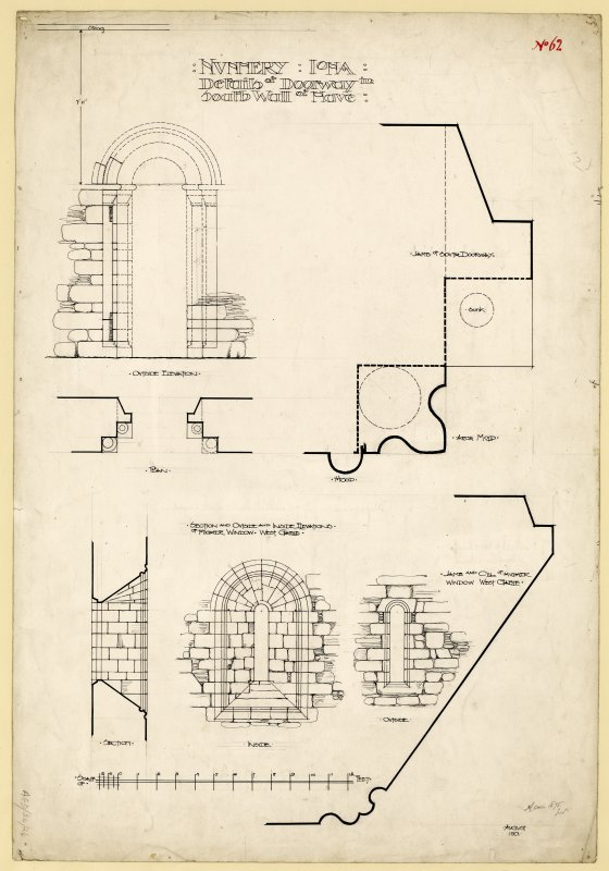 Plan and elevation of doorway from nave to cloister and elevations and sections of upper window West gable of Nunnery, Iona. Titled. 'Nunnery, Iona. Details of Doorway in South Wall of Nave.' Dated. 'August 1901.' Signed and Dated. 'Meas. 1875 J.W.'