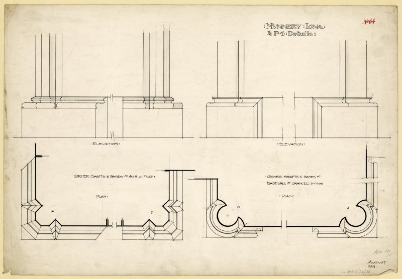 Plan showing details of shafts on exterior angles of East gable and conventual buildings of Nunnery, Iona. Titled. 'Nunnery Iona. 1/4 Full Size Details.' Dated. 'August 1901.' Signed and Dated. 'Meas. 1875 J.W.'