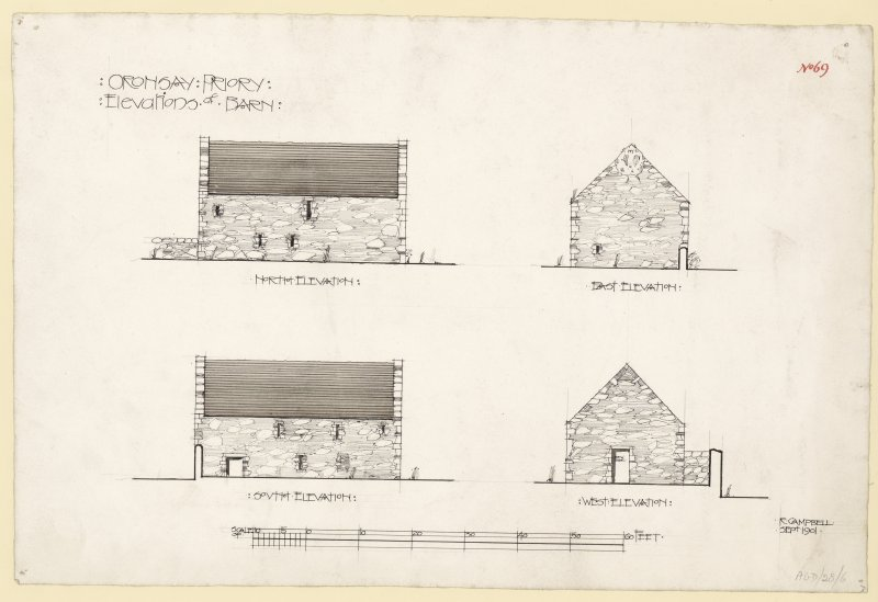 North, South and East elevations of barn of Oronsay Priory, Oronsay. Titled. 'Oronsay Priory. Elevations of Barn.' Signed and Dated. 'R. Campbell. Sept. 1901.'