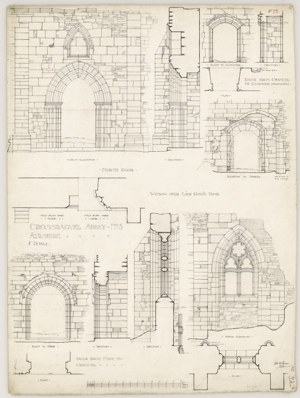 Sections and elevations details of doors and window of Crossraguel Abbey. Titled. 'Crossraguel Abbey No. 5 Ayrshire.' Signed and Dated. 'John B. Lawson. 1907.'