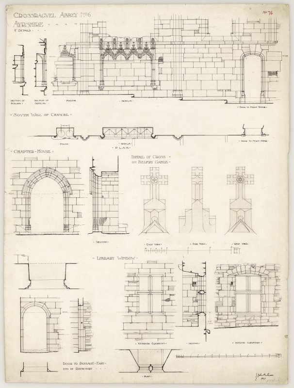 Details of the South wall of Chancel, Chapter house door, Cross on belfry gable, library window and a door to Eastern passage of Crossraguel Abbey. Titled. 'Crossraguel Abbey, No.6, Ayrshire, 1/2 inch details.' Signed and Dated. 'John B. Lawson. 1907.'