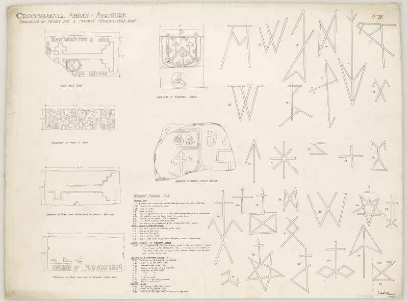 Series of drawings of tombs fragments including 'Lady Row's Tomb' and full scale drawings of masons' marks at Crossraguel Abbey. Titled. 'Crossraguel Abbey. Ayrshire. Fragments of Tombs etc & Masons' Marks. Full Size.' Signed and Dated. 'John B. Lawson. 1907.'