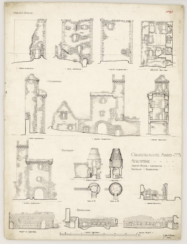 Full set of plans, sections and elevations of Crossraguel Abbey. Titled. 'Crossraguel Abbey. No.3 Ayrshire. Abbot's Hoose. Gatehouse. Dovecot & Refectory.' Signed and Dated. 'John B. Lawson. 1907.'