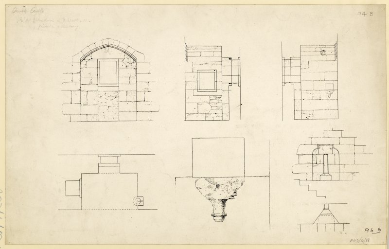 Plan, elevation and sections, drawing of windows in North wall with piscina, aumbry and oratory on second floor of Carrick Castle.