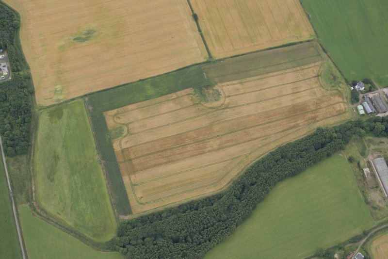 Oblique aerial view of the cropmarks of the fort at Gars Hill, looking SE.