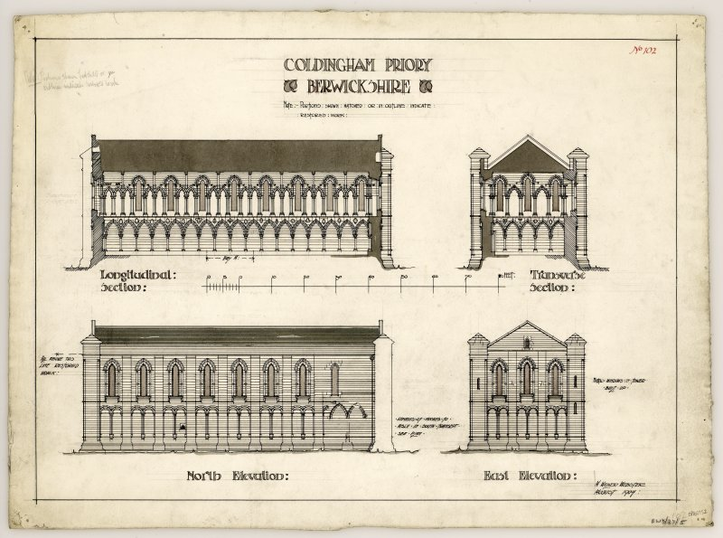 Section, transverse section, North and East elevations of chancel of Coldingham Priory. Titled. 'Coldingham Priory. Berwickshire. Portions shown hatched or in outline indicate restored work.' Signed and Dated. 'A. Walker Webster. August 1904.'