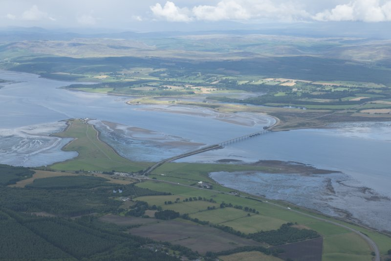 General oblique aerial view of the Dornoch Firth Bridge, looking NW.