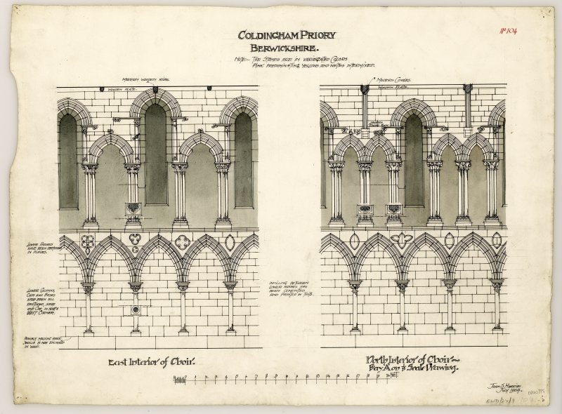 Plans of East gable, the East interior of the choir and North interior of choir at Coldingham Priory. Titled. 'Coldingham Priory, Berwickshire. Note: The stones are in vaiegated colors. pink predominating, yellows and whites intermixed.' Signed and Dated. 'John. S. Hardie. July 1904.'
