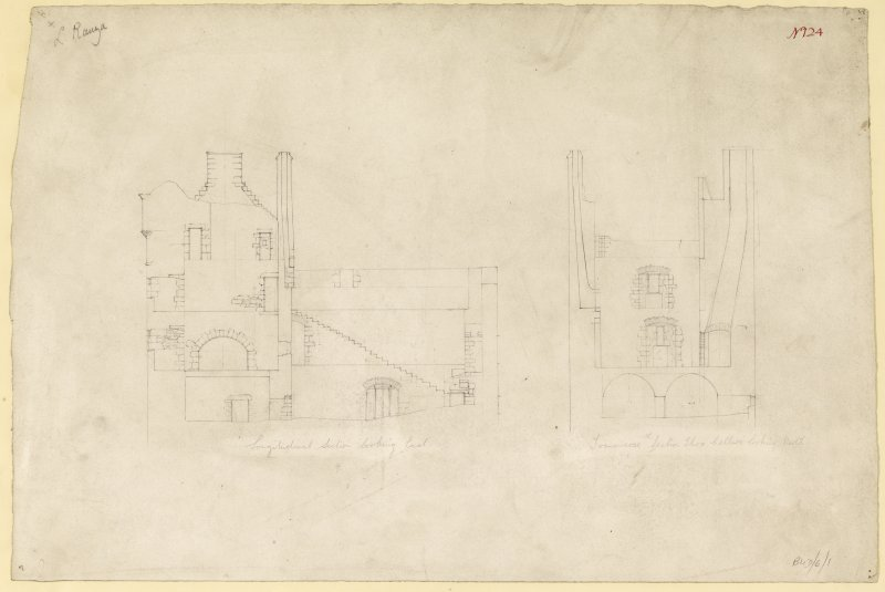 Longitudinal section and transverse section of Lochranza Castle.  Titled. 'Longitudinal Section Looking East. & Longitudinal Section Thru Cellars Looking North.'