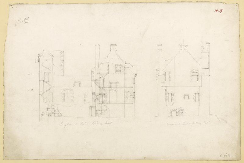 Longitudinal section and transverse section of Lochranza Castle. Titled. 'Longitudinal Section Looking West. & Longitudinal Section Looking North.'