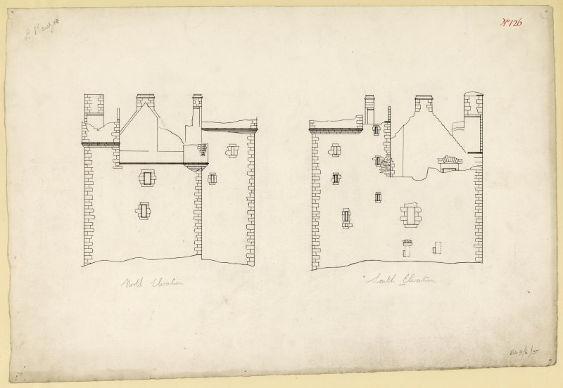 North and South elevations of Lochranza Castle.