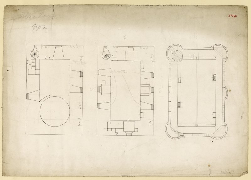Second and third floor plans and parapet plans of Alloa Tower.