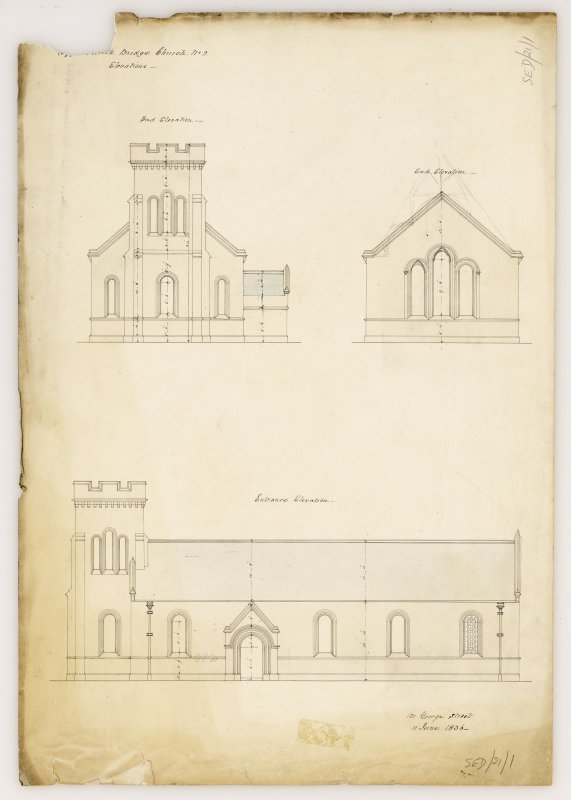 End and entrance elevations for Kirkhope Parish Church, Ettrickbridge. Titled: 'Ettrick Bridge Church. No. 2. Elevations'.
