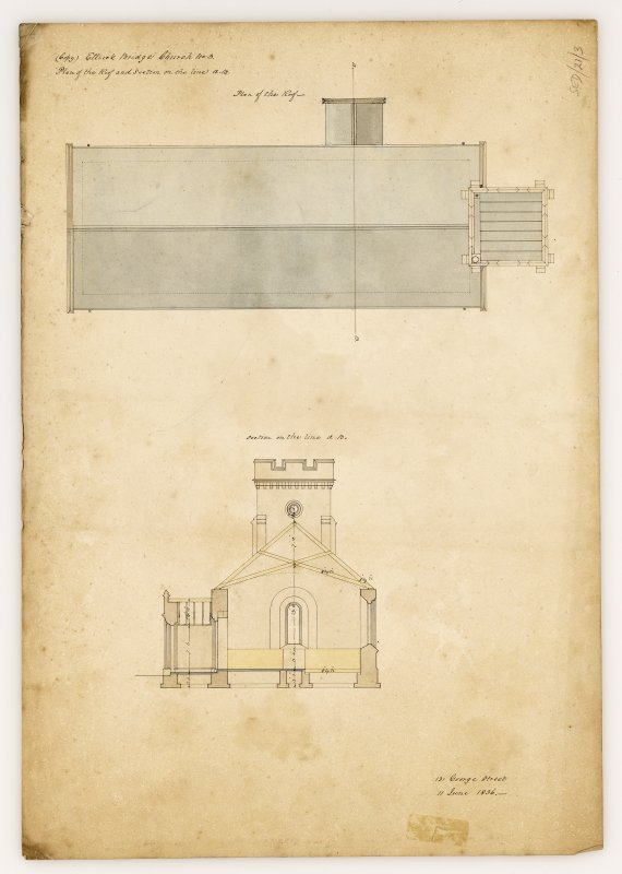 Roof plan and section of Kirkhope Parish Church, Ettrickbridge. Titled: '(Copy). Ettrick Bridge Church. No. 3. Plan of the Roof and Section on the line A. B'.