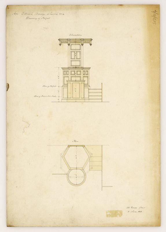 Plan and elevation of pulpit, Kirkhope Parish Church, Ettrickbridge. Titled: '(Copy) Ettrick Bridge Church. No. 4. Drawing of Pulpit'.