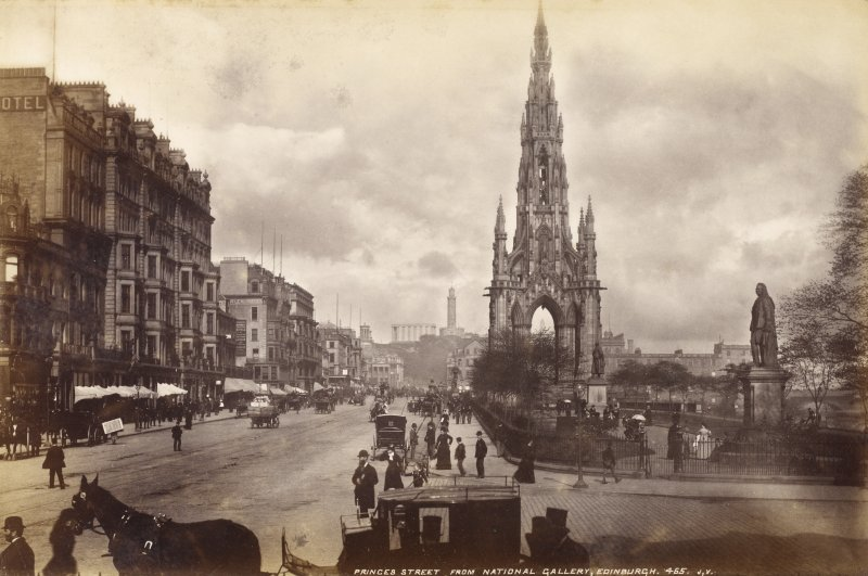 General view of Princes Street and Scott Monument, Edinburgh.