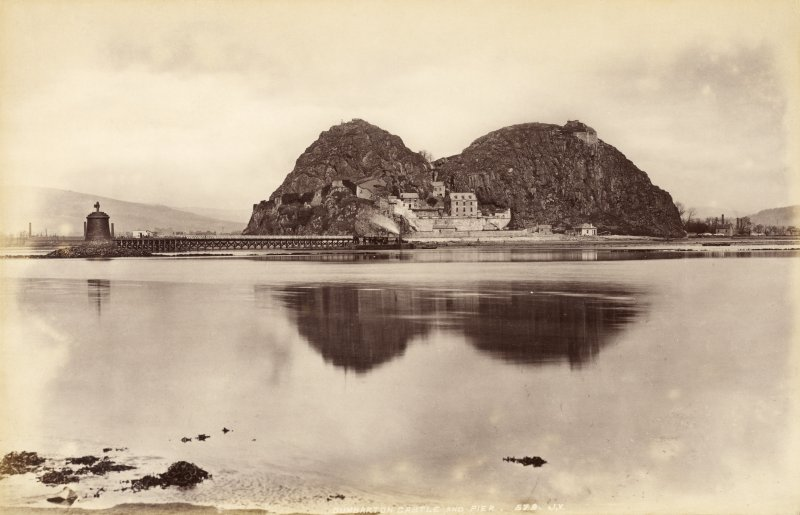 View of Dumbarton Castle and pier.