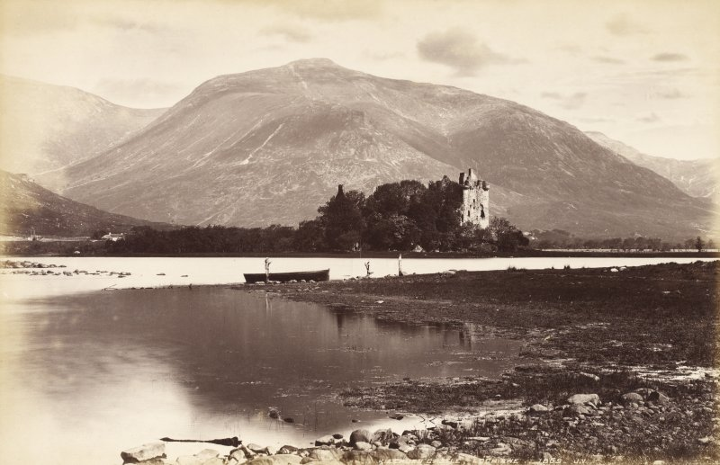 General view of Kilchurn Castle. Titled 'Kilchurn Castle, Loch Awe 1869. J.V.'. PHOTOGRAPH ALBUM No. 33 : COURTAULD ALBUM.