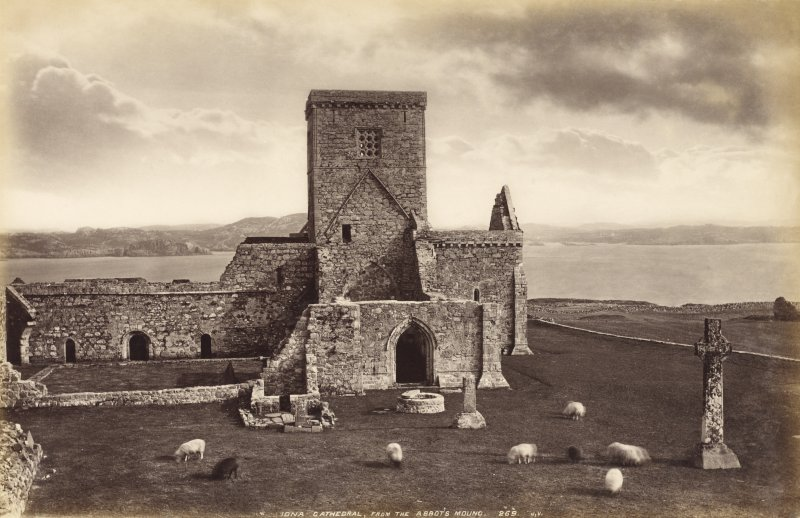 View of Iona Abbey. Titled: 'Iona Cathedral from the Abbot's Mount. 269 J.V.' PHOTOGRAPH ALBUM No.33: COURTAULD ALBUM.