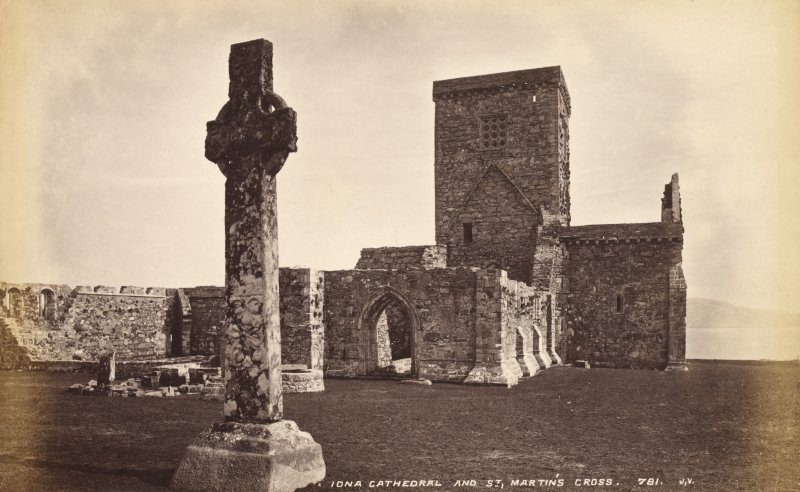 View of Iona Abbey and St Martin's Cross. Titled 'Iona Cathedral and St Martin's Cross 781 J.V.' PHOTOGRAPH ALBUM No.33: COURTAULD ALBUM.