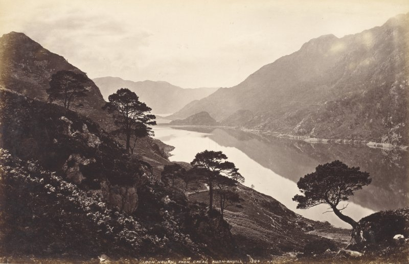 General view of Loch Hourn. Titled: 'Loch Hourn from Creag Ruon-Bhuill, 1594. J.V.' PHOTOGRAPH ALBUM No.33: COURTAULD ALBUM.