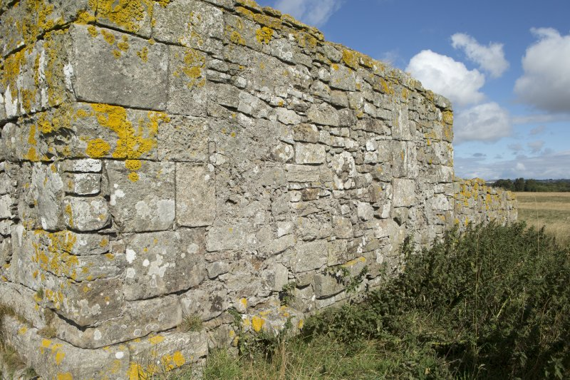 East wall of priory church, oblique view from south east