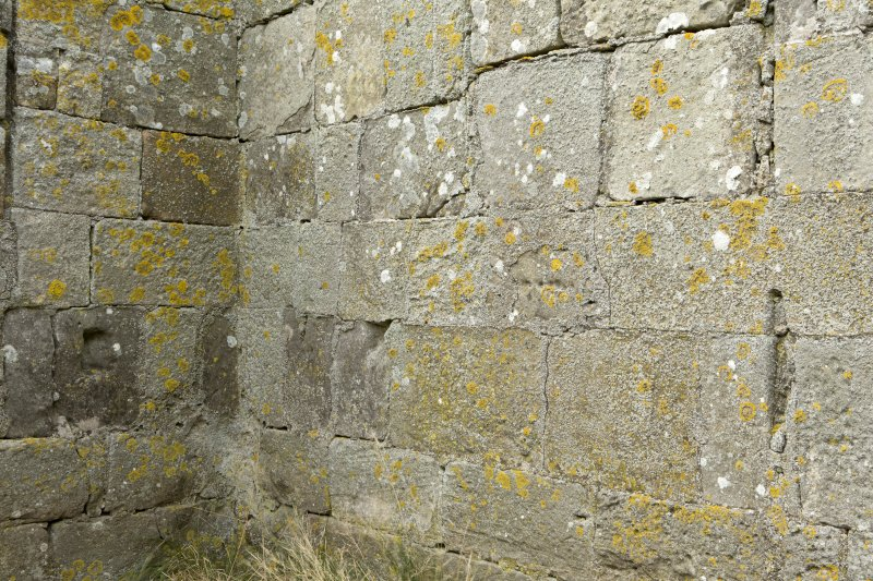 Interior of priory church. Detail of stonework in north west corner showing changes in coursing