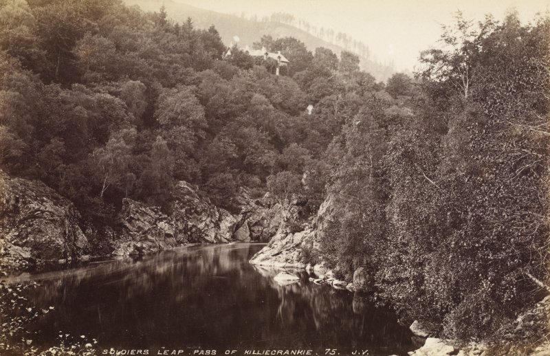 View of Soldier's Leap. Titled: 'Soldier's Leap, Pass of Killiecrankie, 75 J.V.' PHOTOGRAPH ALBUM No.33: COURTAULD ALBUM.