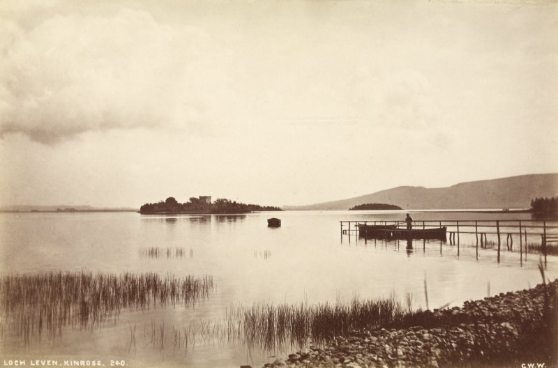 Distant view of Lochleven Castle. Titled: 'Loch Leven, Kinross, 240 G.W.W.' PHOTOGRAPH ALBUM No.33: COURTAULD ALBUM.